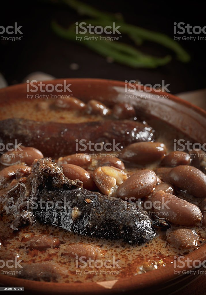 Close up of spanish fabada with Black pudding and sausage stock photo