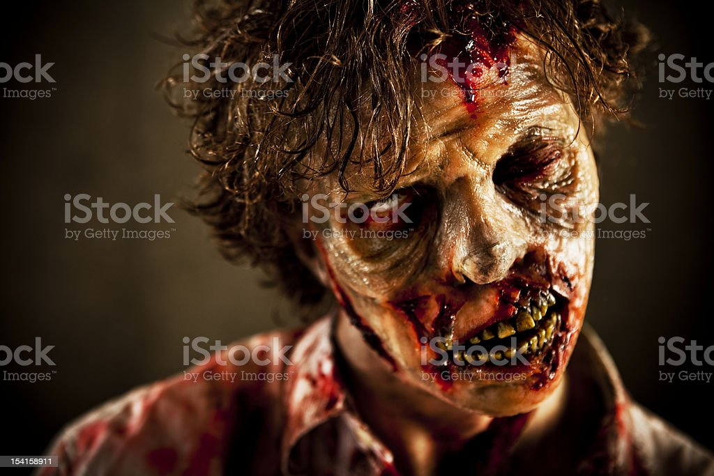 Close Up of Special Effects Zombie Face and Makeup stock photo