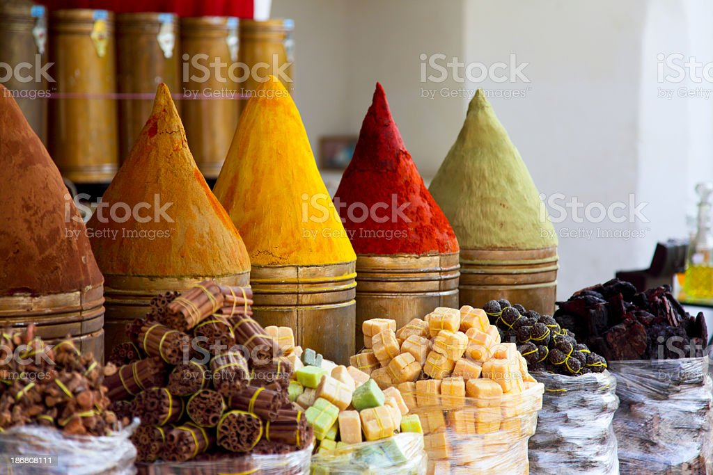 Close up of spies in a market stall in Marrakech, Morocco royalty-free stock photo