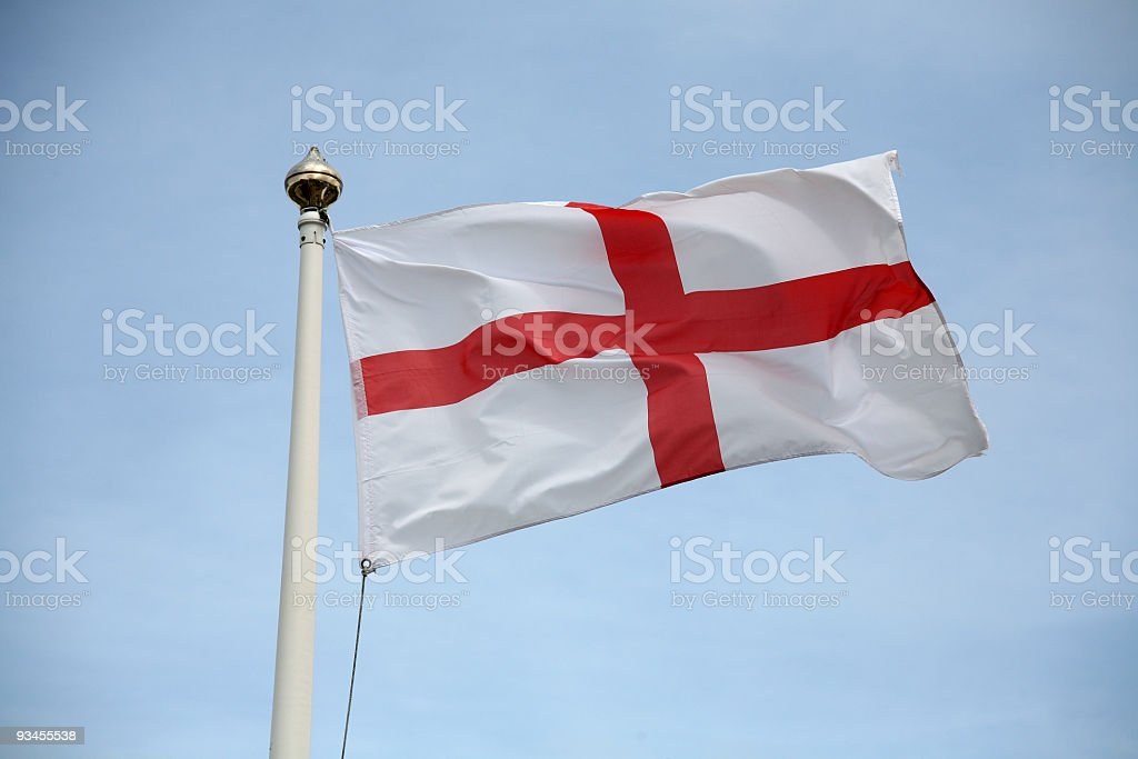 Close up of St George flag waving from flag post stock photo