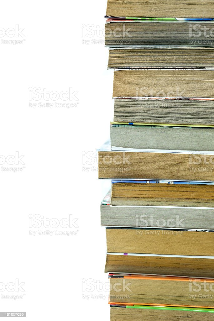 Close up of Stack of old book isolated on white stock photo