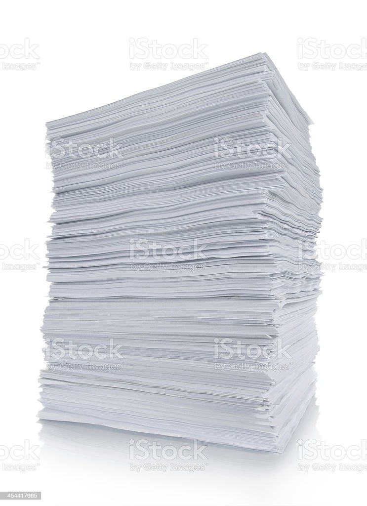 Close up of stack paper stock photo