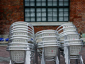 Close up of stacked chairs