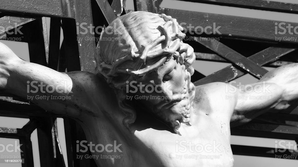 Close up of statue Jesus Christ on the cross royalty-free stock photo