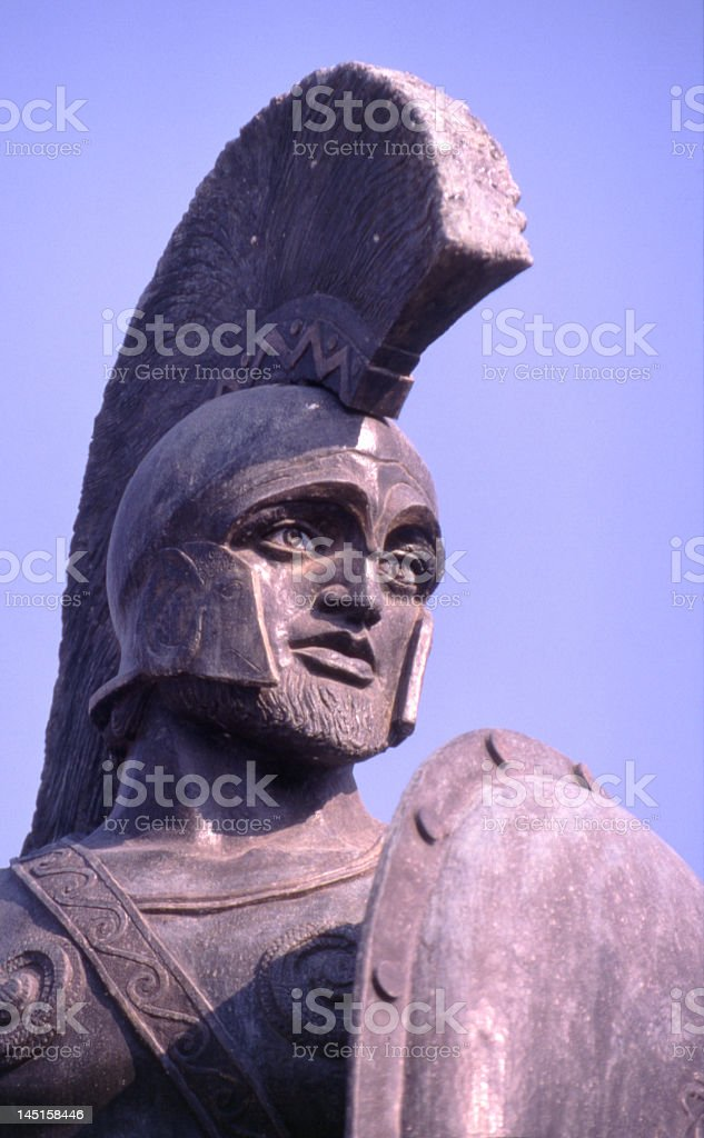 Close up of statue of King Leonidas stock photo