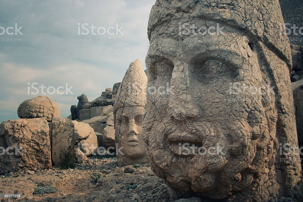 Close up of statues of Nemrud Dagh royalty-free stock photo