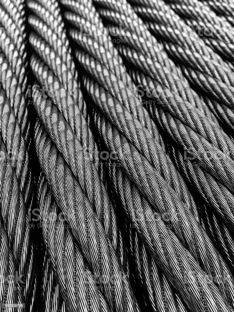 Close up of steel twisted cables stock photo