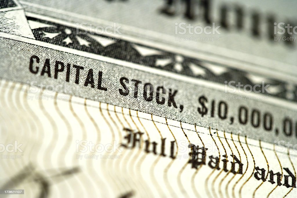 Close Up of Stock Certificate stock photo