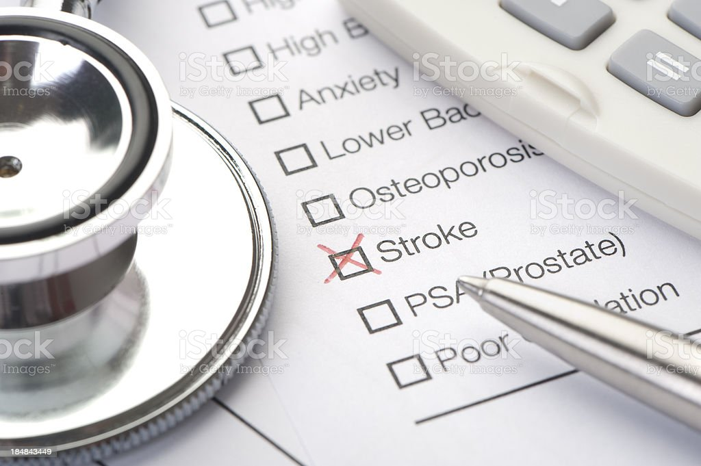 Close up of stroke checked on a medical test royalty-free stock photo