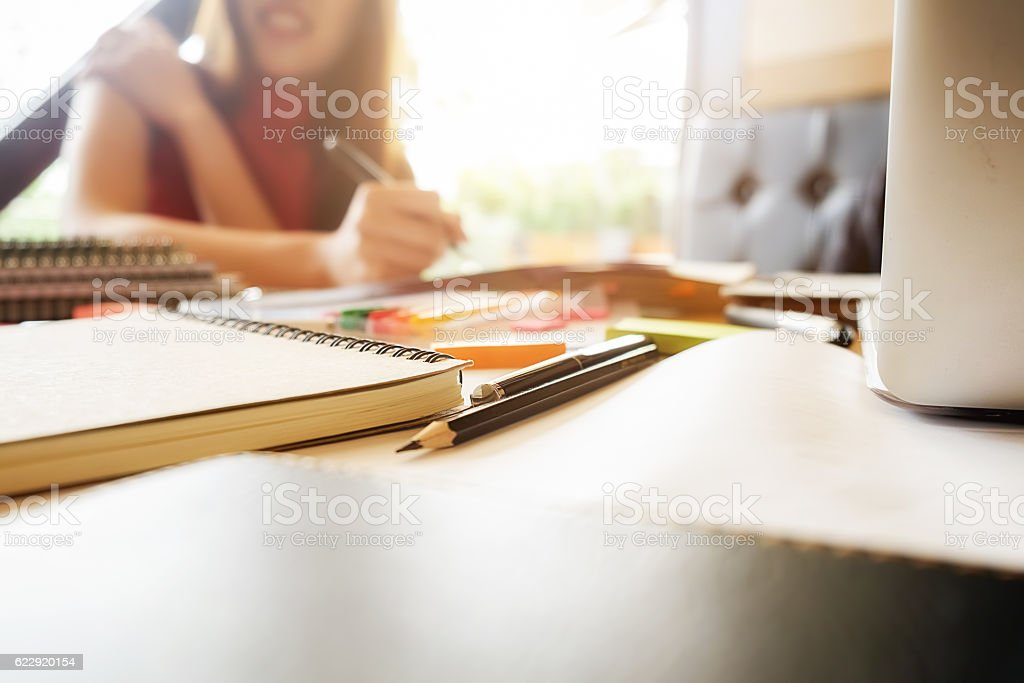 Close up of student studies accessories stock photo