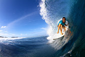 Close up of surfer in barrel