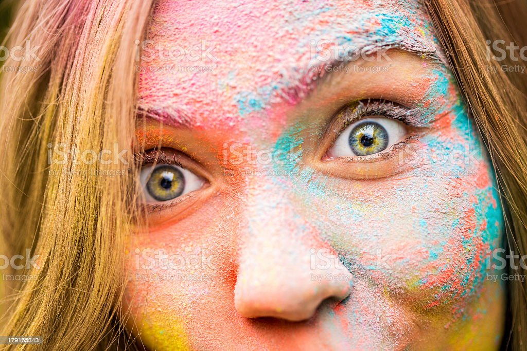 Close up of Teenage girl at Holi Festival royalty-free stock photo