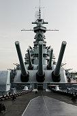 Close up of the battleship USS Alabama