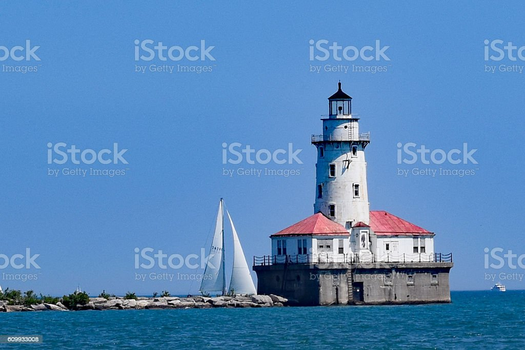 Close up of the Chicago Harbor Lighthouse stock photo