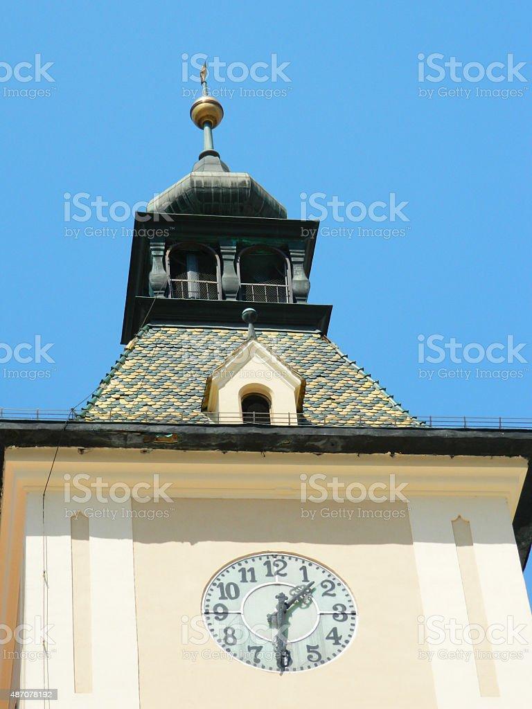 Close up of the clock city hall of Brasov, Romania. stock photo