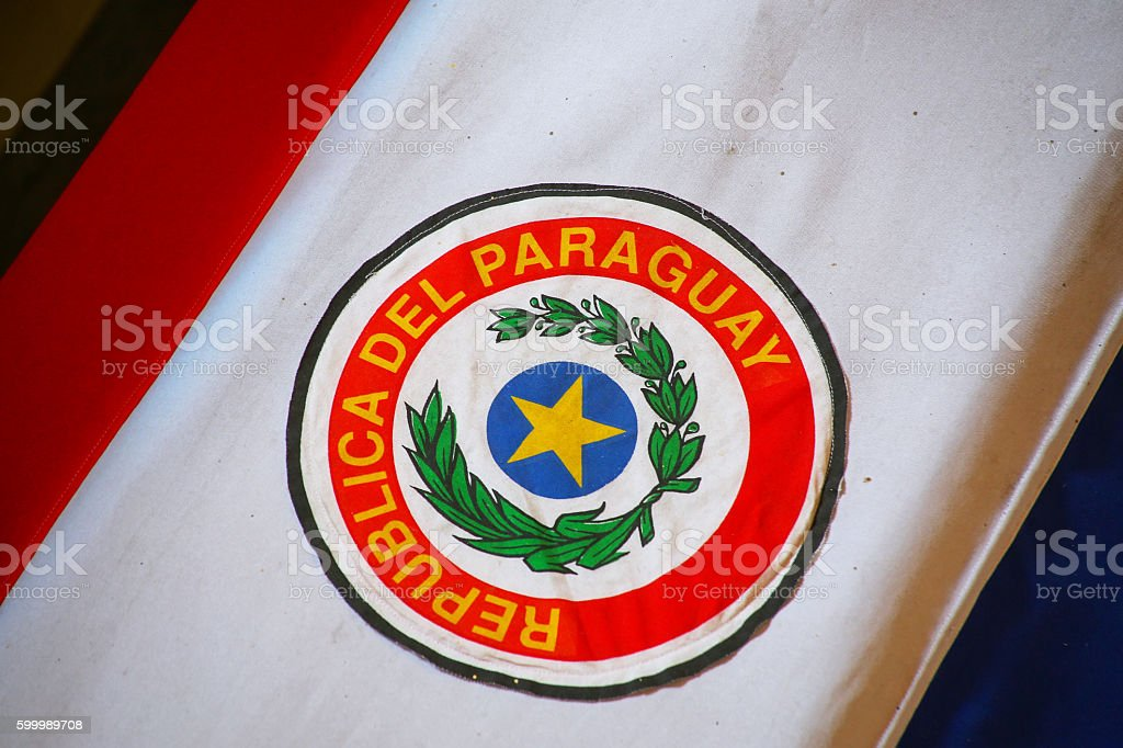 Close up of the coffin covered with Paraguayan flag stock photo