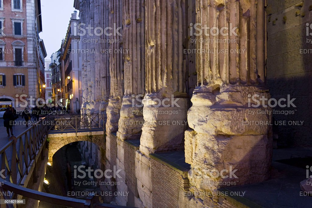 Close up of the columns of Hadrian Temple in Rome stock photo