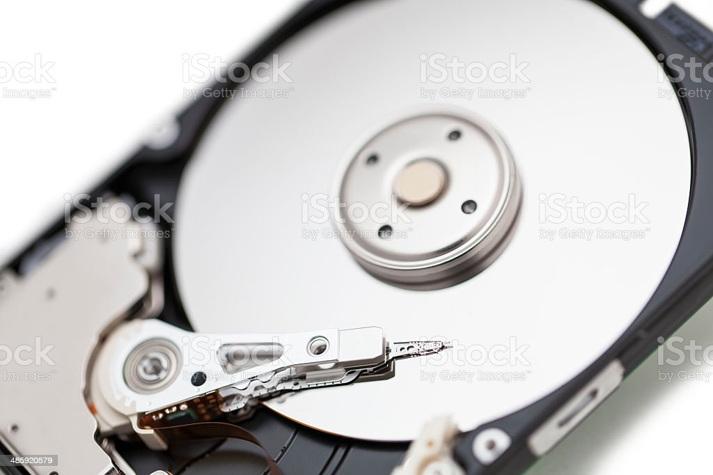 Close up of the computer hard drive stock photo