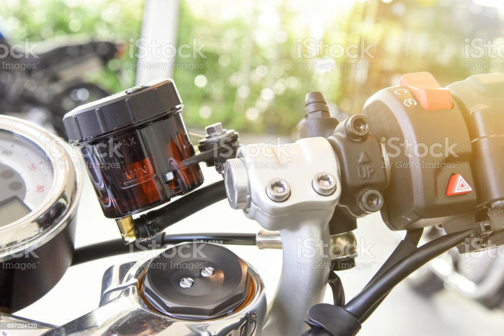 close up of the container of motorcycle brake fluid stock photo