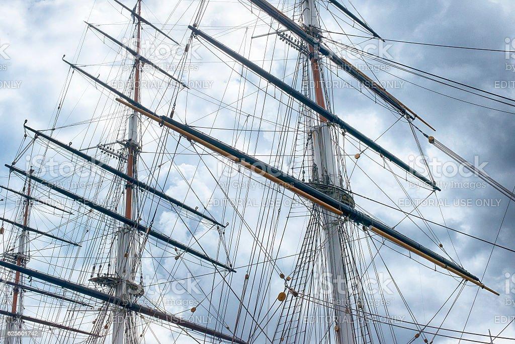 Close up of the Cutty Sark mast stock photo