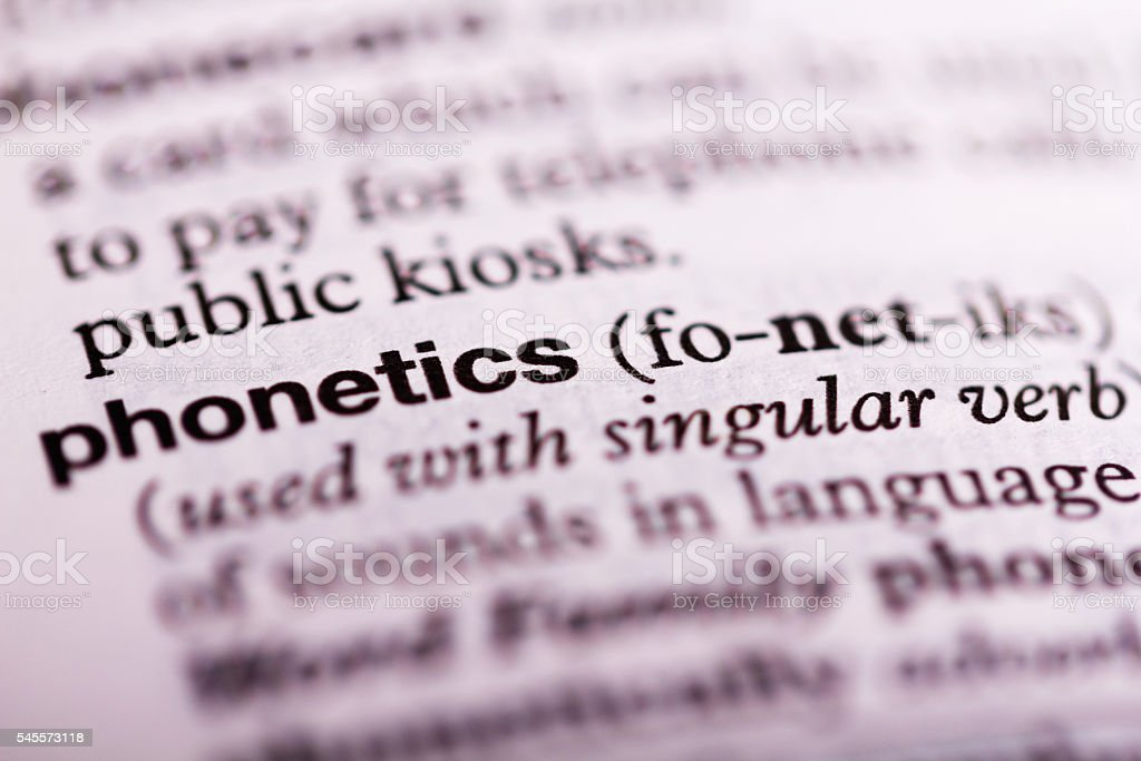 Close up of the dictionary definition of phonetics stock photo
