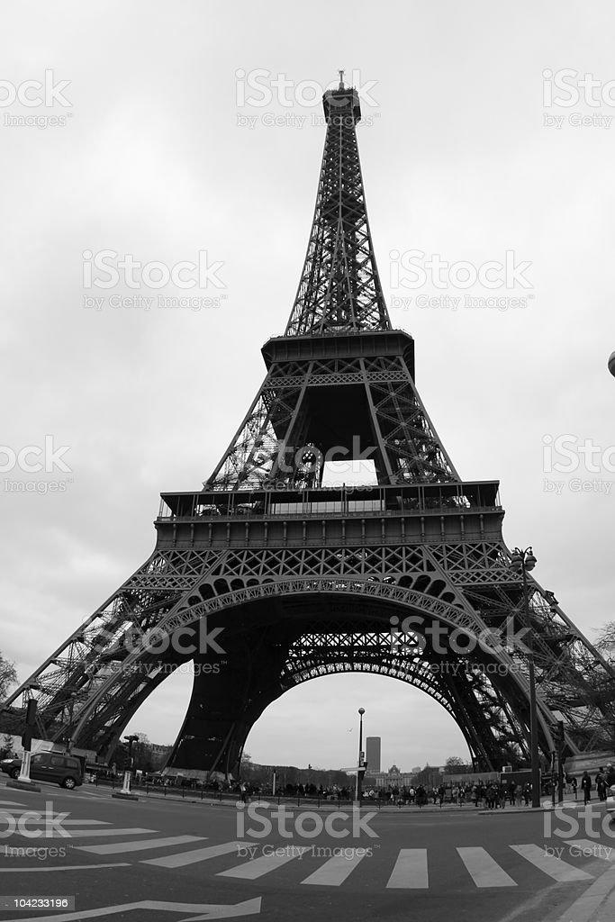 Close up of the Eiffel tower - fisheye lense stock photo