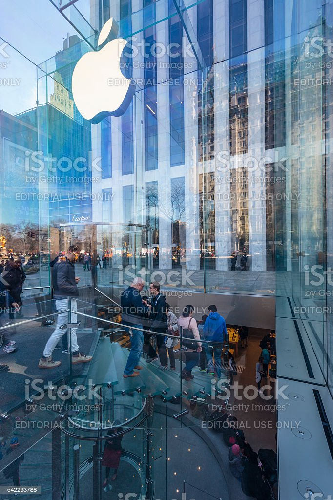 Close up of the entrance of the 5th avenue Apple Store stock photo