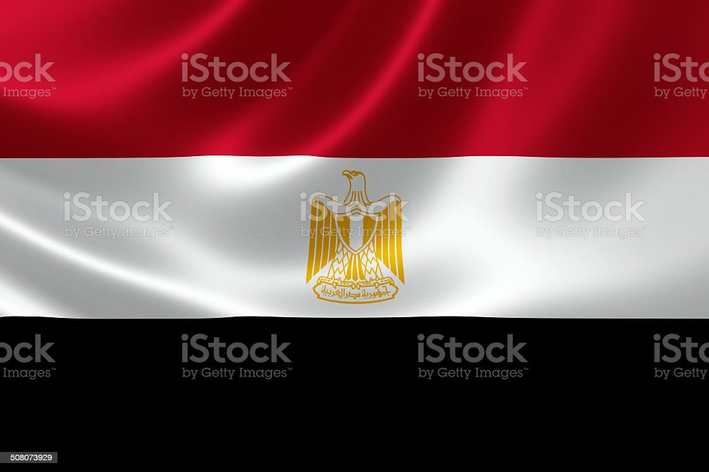 Close Up of the Flag of Egypt stock photo
