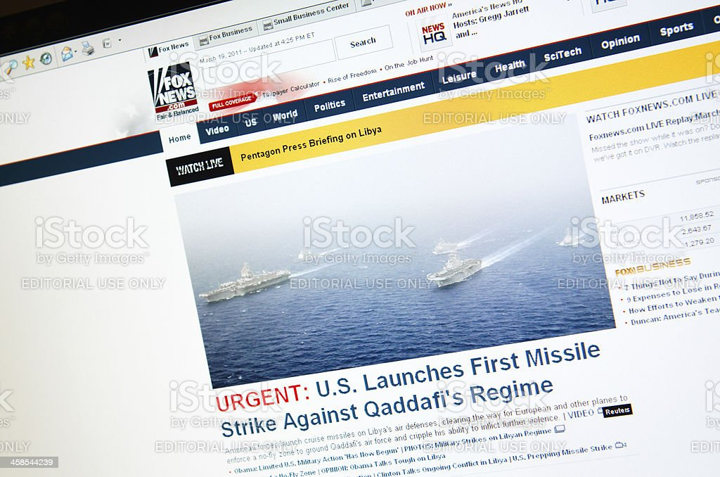 Close up of the FoxNews.com front page from 2011 royalty-free stock photo