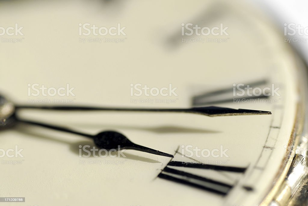 Close up of the hands of an antique watch royalty-free stock photo