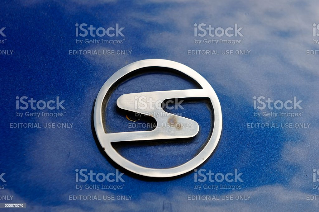 Close up of the hood ornament of a Trabant 601S stock photo