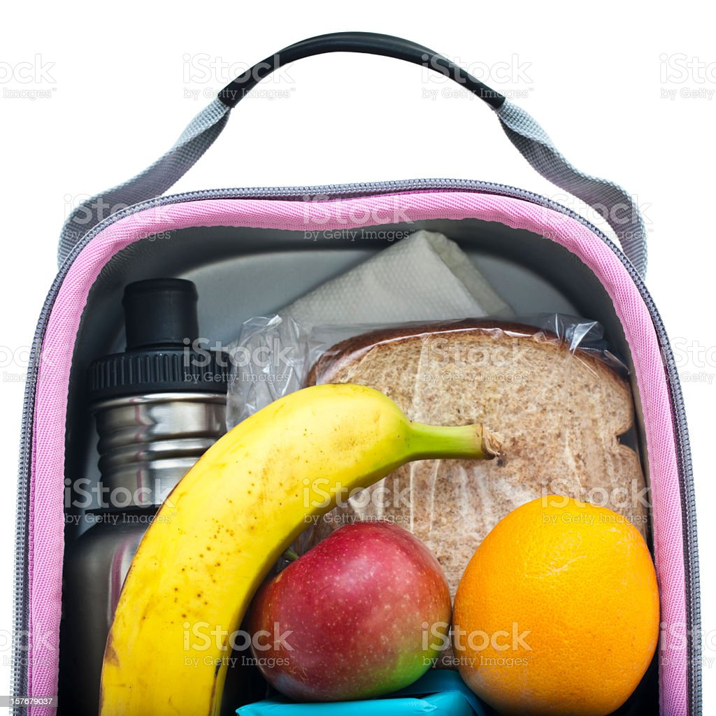 Close up of the inside of a healthy lunch pack stock photo