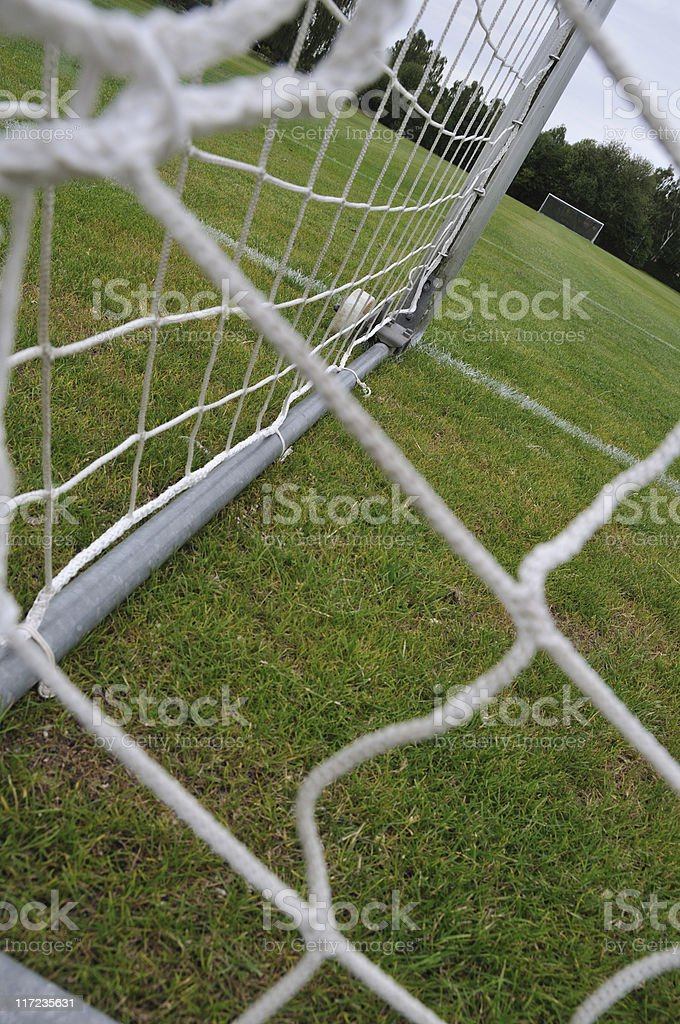 Close up of the net of a soccer goal stock photo