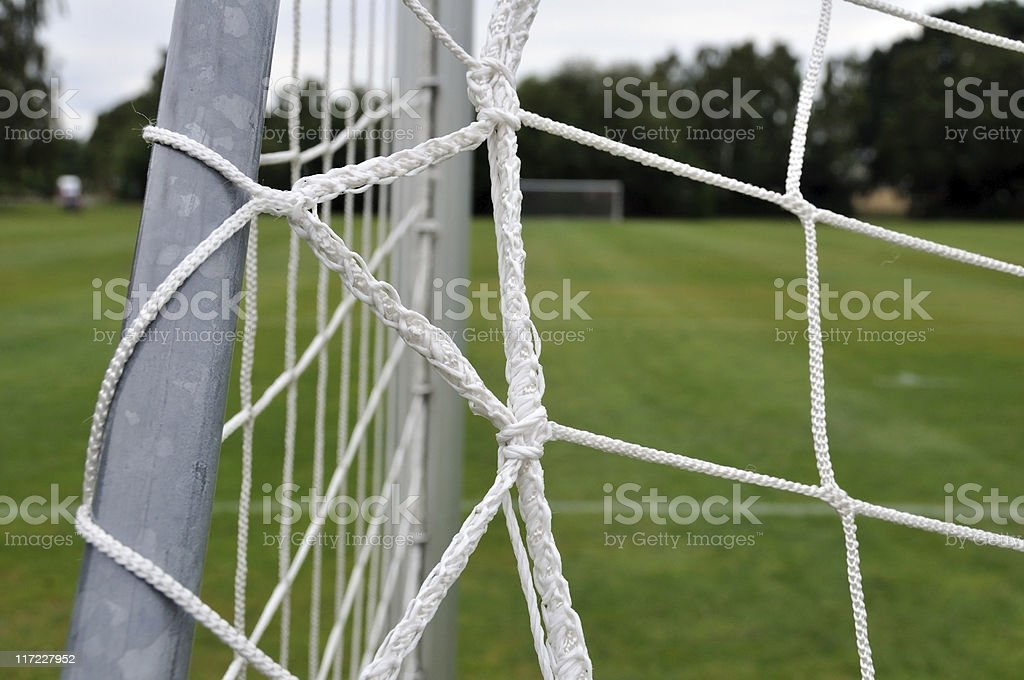 Close up of the net on a football goal stock photo