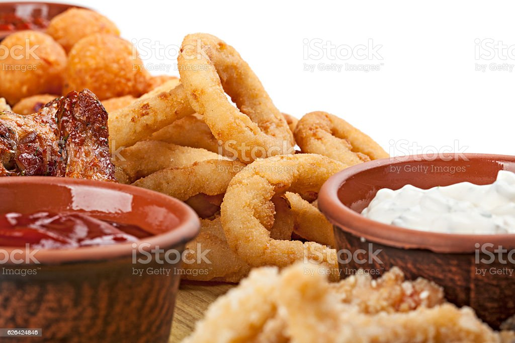 Close up of the part of appetizers to beer. stock photo