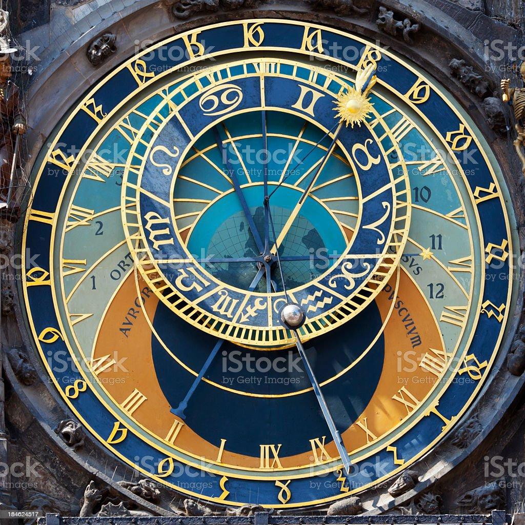 Close up of the Prague Astronomical clock stock photo
