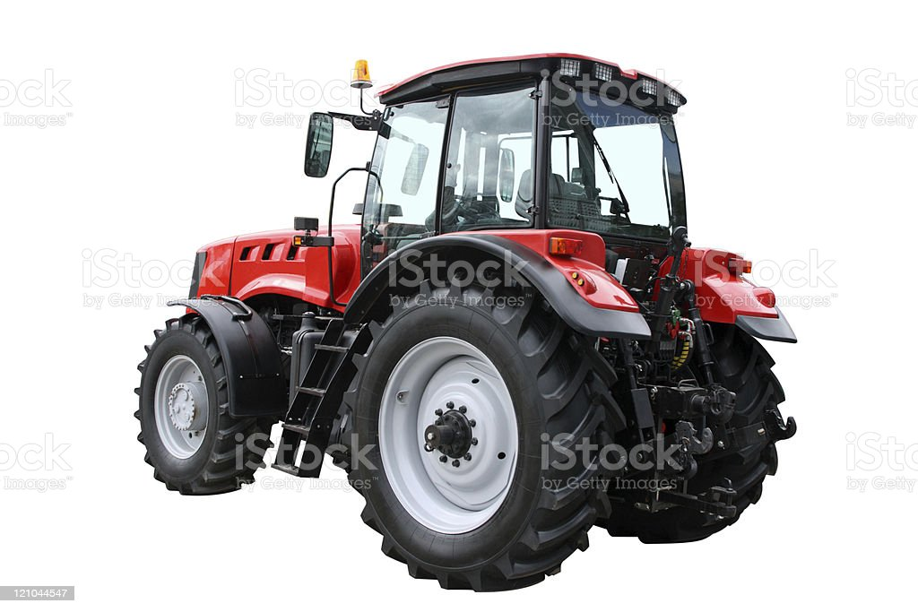 Close up of the red and black tractor royalty-free stock photo