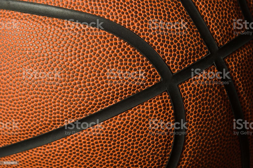 Close up of the surface of a basketball stock photo