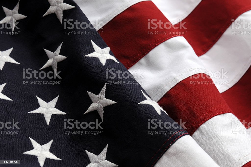 Close up of the United States flag royalty-free stock photo