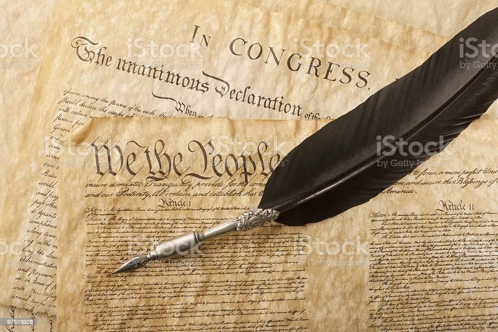 Close up of the US Constitution and an old pencil stock photo