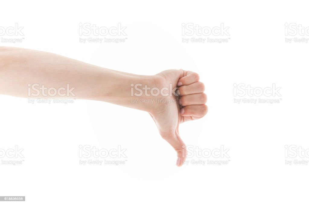 Close up of Thumbs Down Sign stock photo