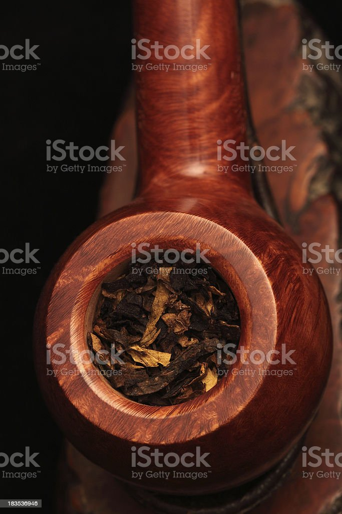 Close up of tobacco filled pipe stock photo