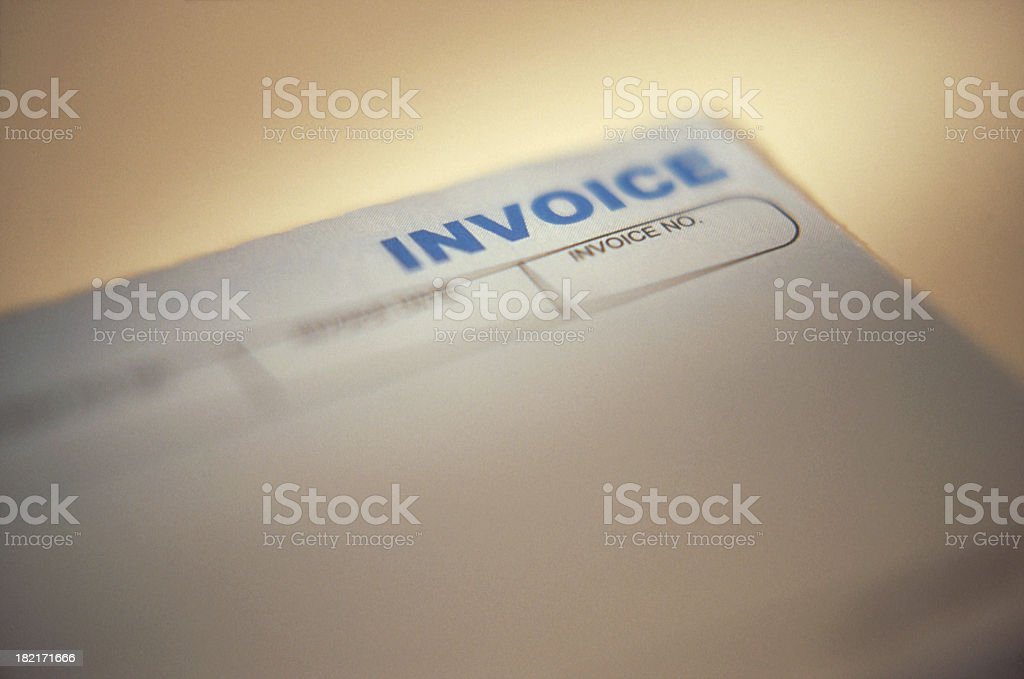 Close up of top right corner of invoice page stock photo