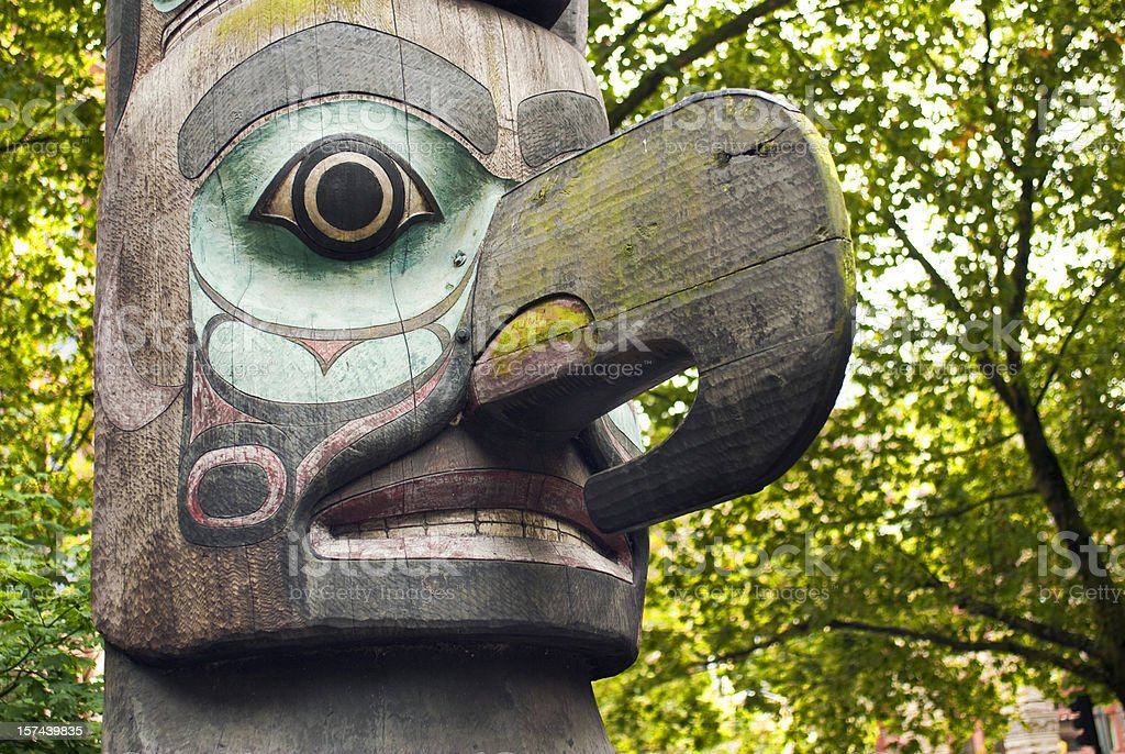 Close up of totem pole in Pioneer Square royalty-free stock photo