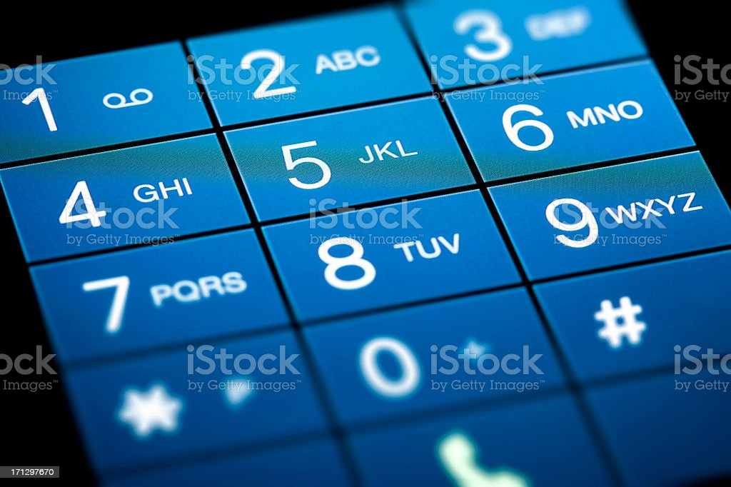 Close up of touchscreen keypad stock photo