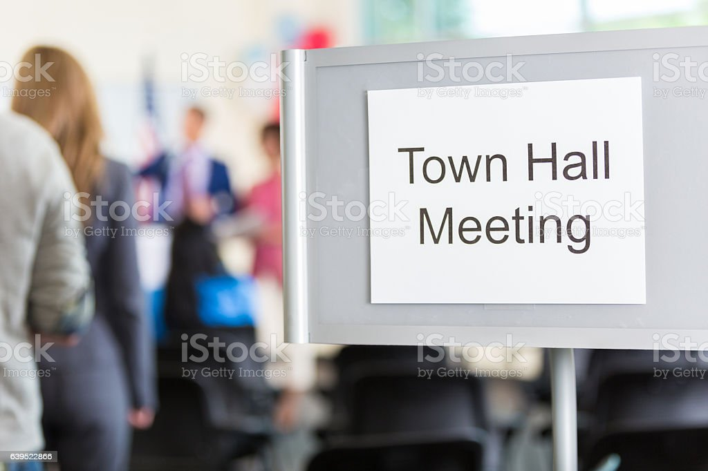 Close up of 'Town Hall Meeting' sign stock photo