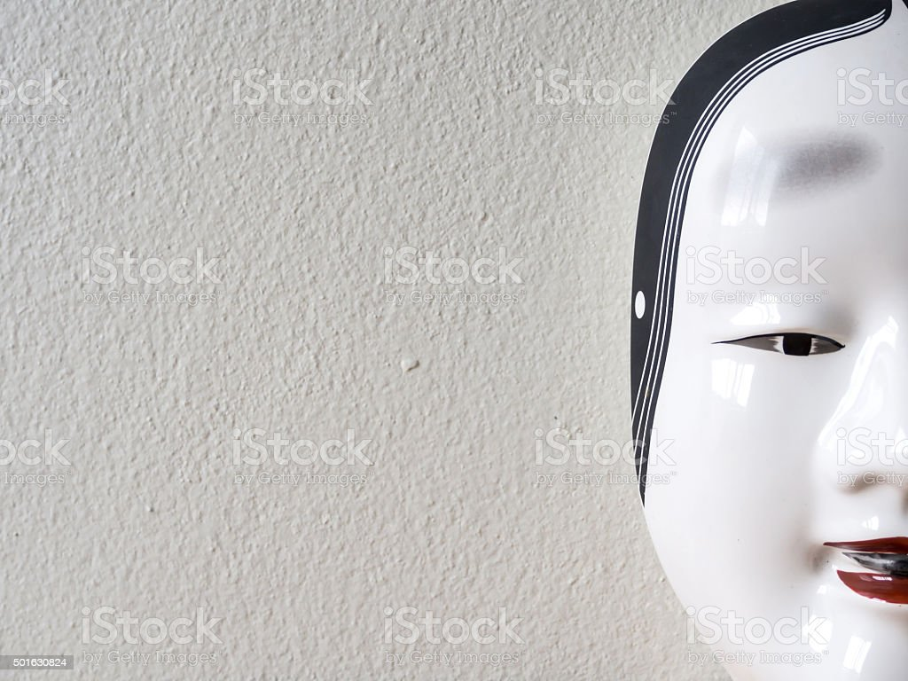 Close up of Traditional japanese theater mask stock photo
