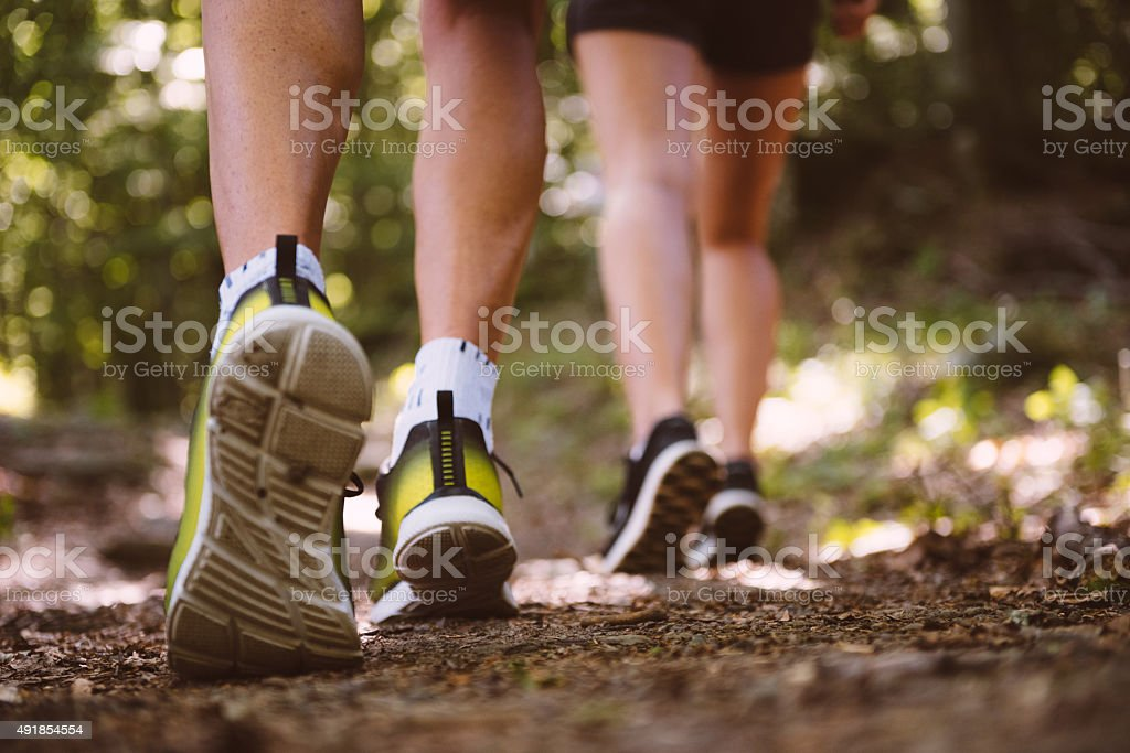 Close up of trail running shoes stock photo