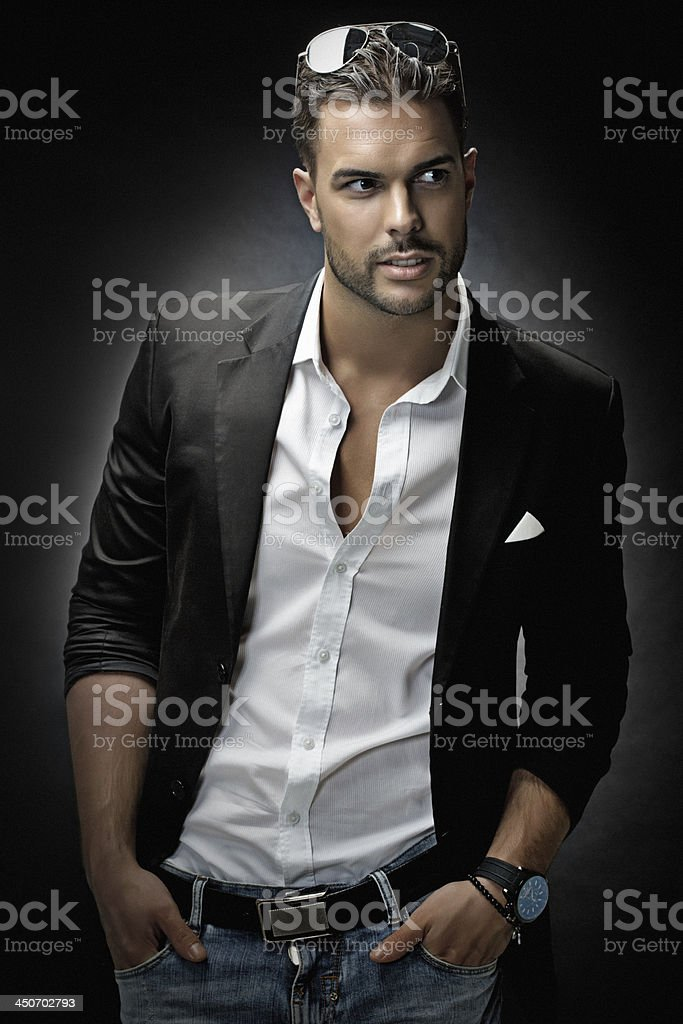 close up of trendy male model stock photo