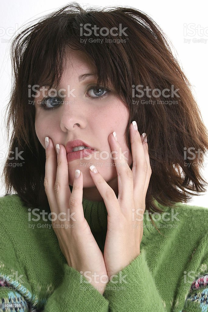 Close Up of Troubled Teen in Green Sweater royalty-free stock photo